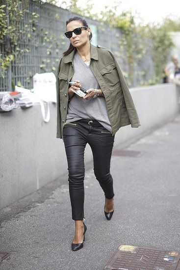 Wear your military jacket draped over shoulders 'editor style'. www.stylestaples.com.au