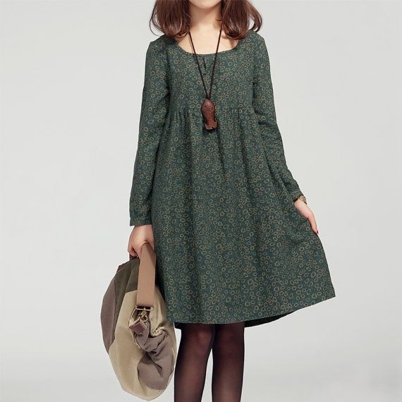 Green / Navy Blue Retro Floral Women 2015 Spring Dress Loose Cotton Tops Casual Long Dress With Long Sleeve