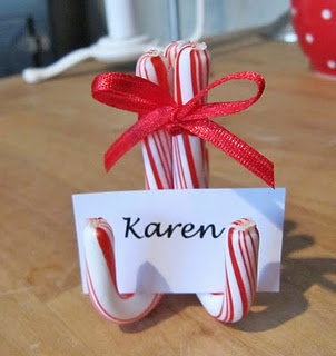 Candy cane name card holder