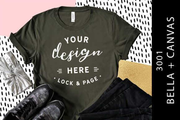 Download Army Bella Canvas 3001 T Shirt Mockup Graphic By Lockandpage Creative Fabrica Shirt Mockup Design Mockup Free Tshirt Mockup