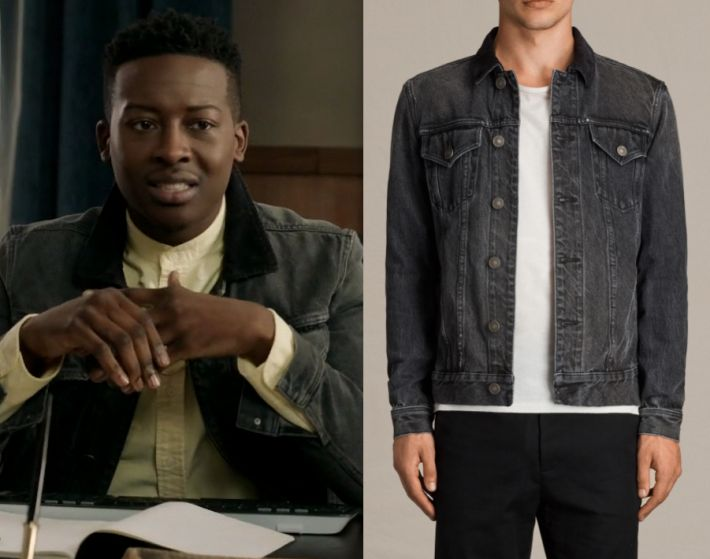 """1x06 Courtney Rose (Brandon Michael Hall) wears this black collared denim jacket in this episode of The Mayor, """"Will You Accept This Rose?"""". It is the AllSaints Gravel Denim Jacket. Sold Out. Previously worn: Season 1 Episode 3"""
