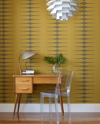 50-255 Hemingway Do the Stretch: Mean Mustard Cult Movie Yellow,Dark Green,Chocolate Geometric Wallpaper