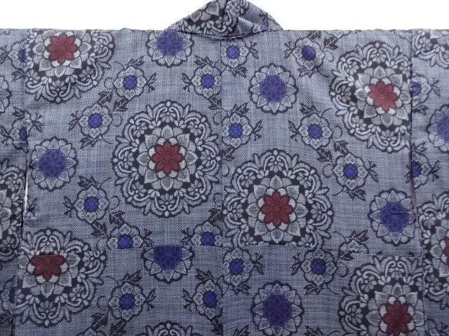 大正ロマン 華紋に花模様織り出し本場正藍泥染大島紬着物(割り込み絣)