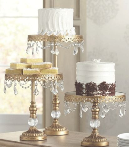 3 x 10 inch diameter gold pedestal with droped jewels.   3 different heights  18 inch, 12 inch & 8.5 inch.   Cake Stands to Hire / Rent.  Ranelagh, Dublin, Ireland.   https://www.thecakelabbakery.com/dublin-cake-stands-to-hire-rent   The Cake Lab Bakery, Ranelagh, Dublin, Ireland. Artisan Baking Studio.