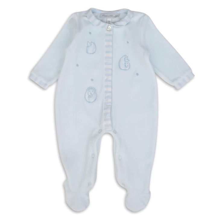 Tartine Et Chocolat Baby Boys Pale Blue Onsie with Embroidered Hedgehog and Star Design and Striped Trimming