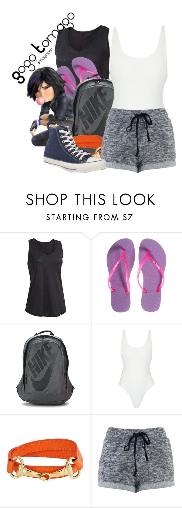 """Gogo Tomago (Big Hero 6)"" by claucrasoda ❤ liked on Polyvore featuring Under Armour, Havaianas, NIKE, Thapelo Paris, Bling Jewelry, Converse and gymessentials"