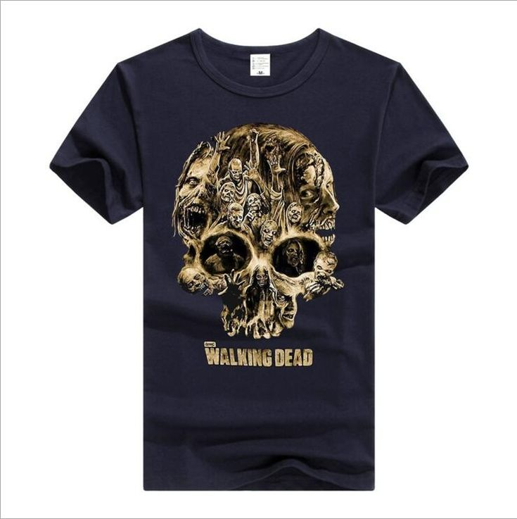 New High 2017 Mens The Walking Dead Daryl Dixon skull T Shirts T-Shirt Hip Hop Skateboard Street Cotton T-Shirts Tee #a47