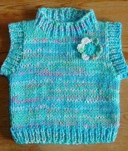 Ditsy Daisy Baby Vest | AllFreeKnitting.com