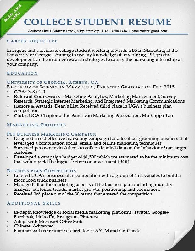 Resume Example For College Student Free Resume Examples Sample