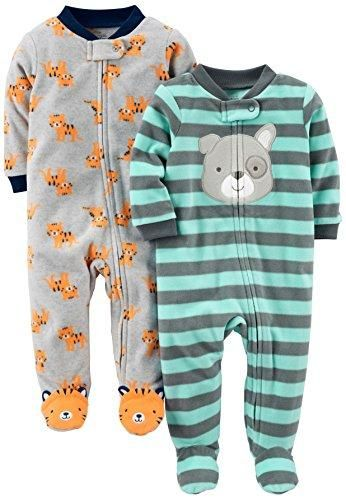0a0a071cb Simple Joys by Carter's Baby Boys' 2-Pack Fleece Footed Sleep and Play,  Tiger/Dog, 3-6 Months