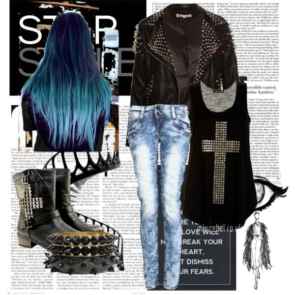 Hardcore Style Girl 1 by sodalu on Polyvore featuring Boohoo, spiked studs, hardcore and blue and black