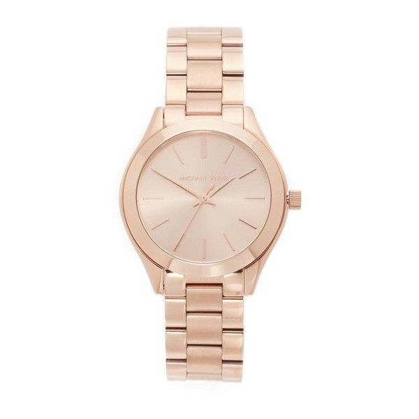 Michael Kors Mini Slim Runway Watch found on Polyvore featuring jewelry, watches, accessories, rose gold, michael kors jewelry, rose gold watches, slim wrist watch, pink gold jewelry and snap jewelry