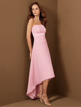 Pink A-line bridesmaid dress with strapless neckline and asymmetrical length. Pleated satin bodice with empire waist. Free made-to-measurement service for any size. Available colors seen as in Color Options.: Teas Length, Flower Girls Dresses, Alfred Angelo, Pink Bridesmaid Dresses, Prom Dresses, Bridesmaid Dresses Styles, Bride Dresses, Bridesmaid Gowns, Chiffon Bridesmaid Dresses