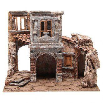 Pueblo antiguo con cabaña para belén 35x38x25 cm | venta online en HOLYART