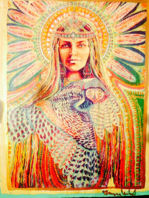 Bringer Of the Dawn white owl medicine custom  painted up-cycled wood print