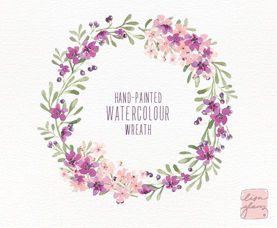 Watercolor wreath: 1 PNG floral clip art / by LisaGlanzGraphics