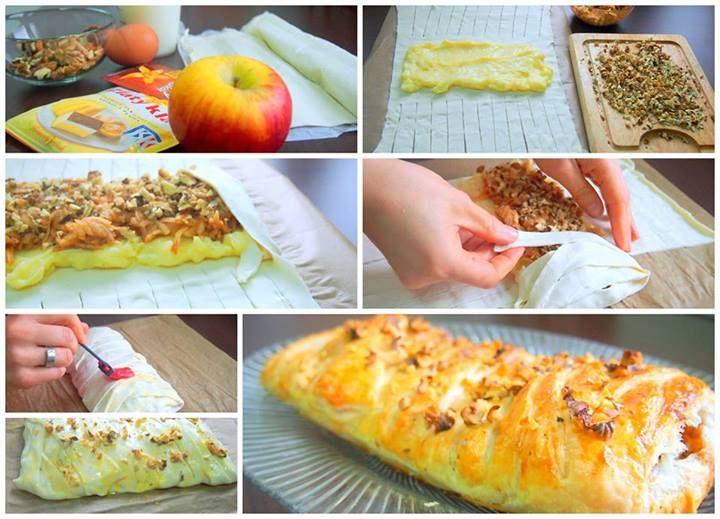 potrebujete: 1 lístkové cesto  1/2 balíku pudingu - zlatý klas 1 vanilínový cukor 200 ml mlieka 1 jablko 1/2 bal. škoricový cukor hrsť posekaných orechov vajíčko na potretie Uvaríme si hustý puding a kým nám chladne ošúpeme a nastrúhame si jablko a posypeme škoricovým cukrom. Cesto si na hrubších okrajoch narežeme na tenké pásiky. Do stredu si dáme puding, navrch jablko a ešte posypeme posekanými orechmi. A potom prekladáme pásiky cesta. Nakoniec potrieme vajíčkom a môžeme tiež posypať…