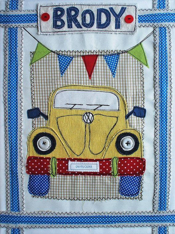 VW Beetle Personalized Canvas Art. Baby Boy Hippy by SwinkyDoo