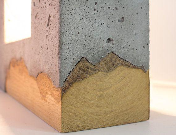 Inscrito Concrete Table Lamp/ Concrete and wood от ArdomaDesign