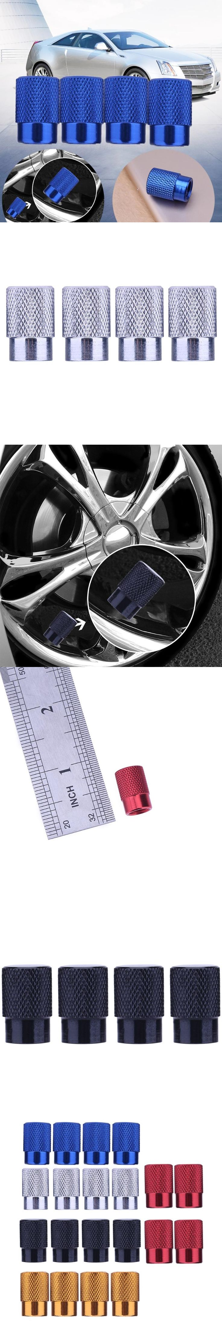 VODOOL 4pcs/set Universal Auto Bicycle Tire Valve Caps Dust Covers for Schrader Valve Aluminum Car Styling Accessories
