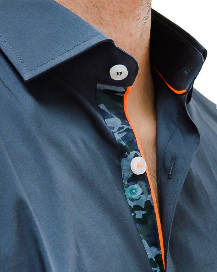 Charcoal Camo Long Sleeve Designer Dress Shirt | Stone Rose - CHARCOAL