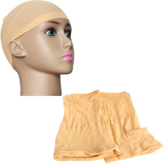 Beige 2 pcs unisex nylon peregangan mesh wig liner cap lembut stocking snood hb88