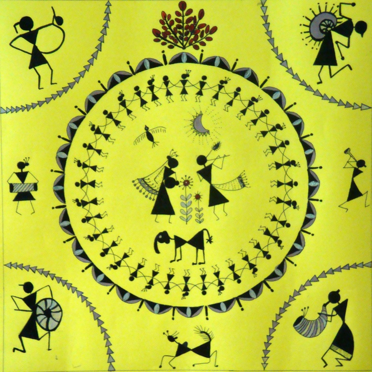 Radha-Krishna: In warli art.