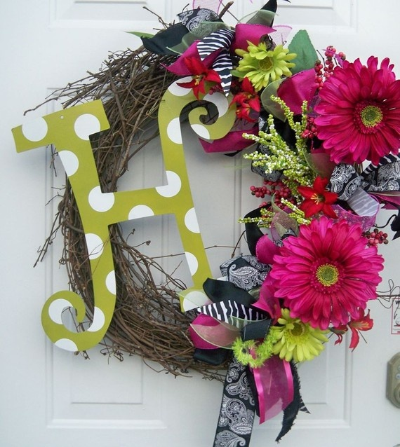 love the colors/letter!Stuff, Spring Decor, Summer Wreaths, Front Doors Wreaths, Wreaths Ideas, Spring Wreaths, Colors Letteing, Diy Projects, Crafts