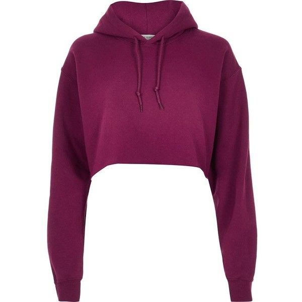 River Island Purple cropped hoodie (£22) ❤ liked on Polyvore featuring tops, hoodies, red, sweatshirts, crop top, cropped hooded sweatshirt, long sleeve crop top, purple hoodie and purple crop top