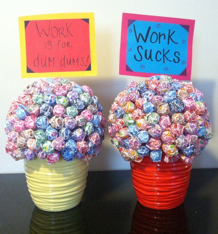 Retirement Party Ideas!! Made with flower pots, styrofoam && dum dums :) very easy!