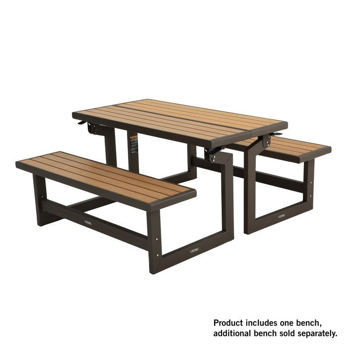 Convertible Bench Picnic Table Faux Wood Furniture