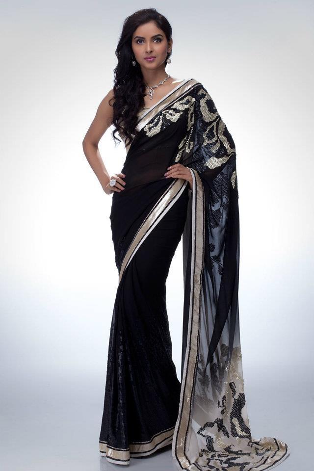 23 Best Images About Black Saree On Pinterest Party Wear