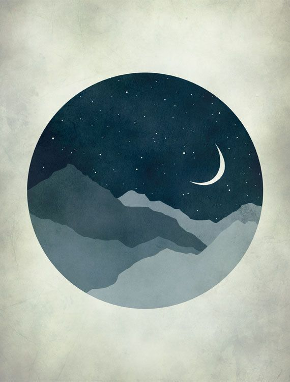 Moon and Stars, Starry Night, Landscape Art Print, Children Decor, Dark blue, Whimsy. $18.00, via Etsy.