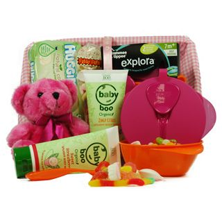 This exclusive hamper contains: Baby Boo Organic Zingy Citrus Splashy Body Wash, Baby Boo Organic Sweet Splashy Body Wash, Huggies Baby Wipes, Teddy Bear Plush and Colourful, Sweet Fairy Assorted Sweet Cone, Tommee Tippee 2 Multicolored Bowls with a Spoon