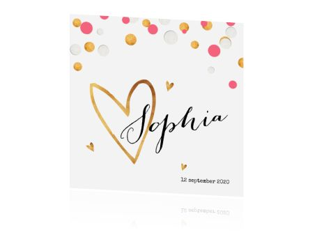 Superhip geboortekaartjes met de trends goud en confetti heel mooi gecombineerd. Het gouden hart op dit cleane geboortekaartje voor een meisje maakt het helemaal af! Dit kaartje is er ook in een jongensvariant.
