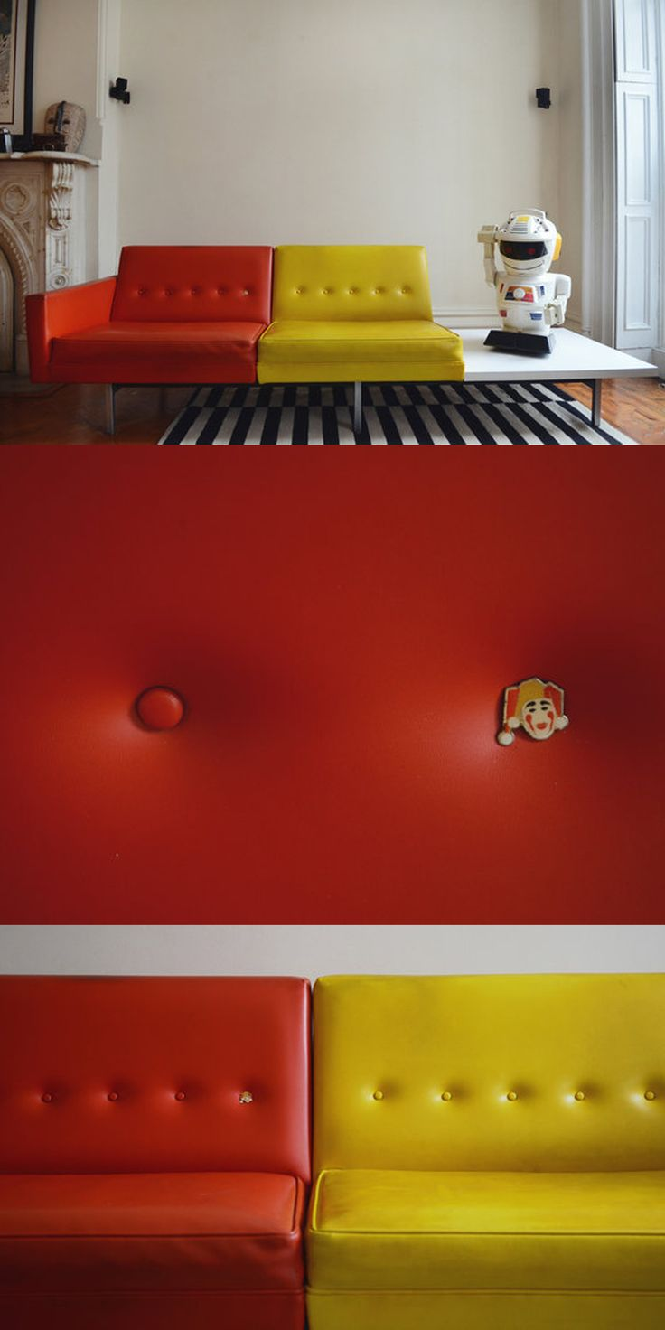 George Nelson For Herman Miller Vinyl Sofa The Addition Of A Vintage Clown Pin Adds