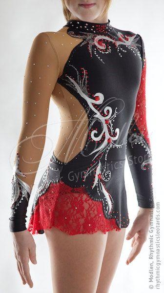 レオタード141:新体操レオタードアイスフィギュアスケートドレスアクロバティックな体操競技の衣装はツナやダンスなどのドレス by Modlen
