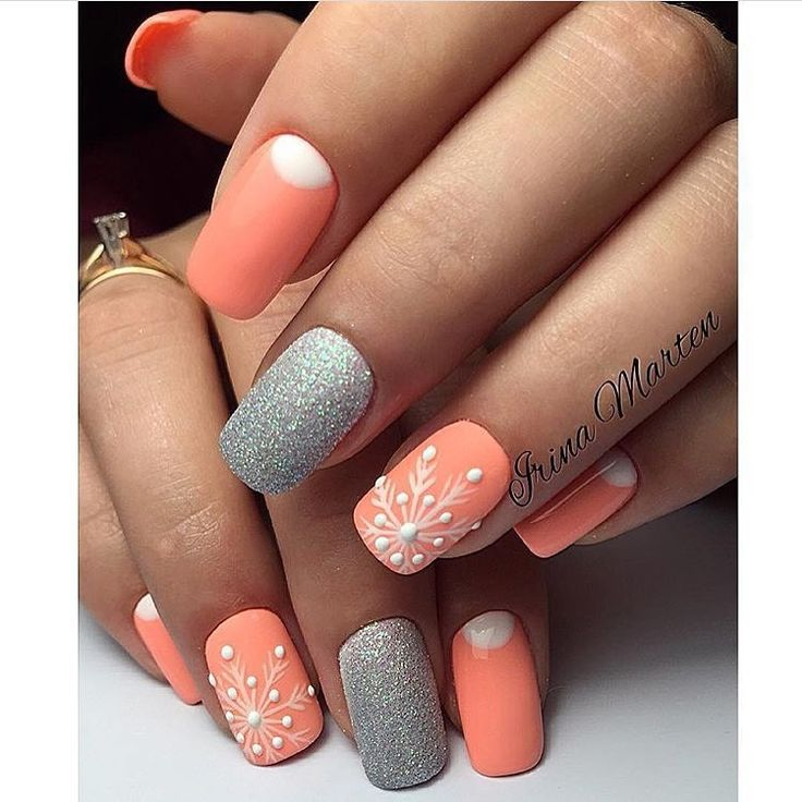Beautiful nails 2017, Bright holiday nails, Christmas nails, Half-moon nails ideas, Peach nails, Peach nails with a picture, Silver nails, Snowflake nail art