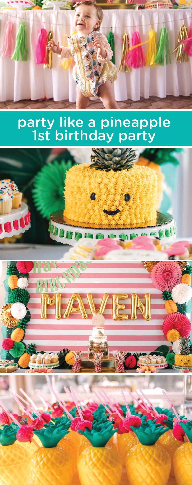 "With your baby's summer birthday right around the corner, it's the ideal time to bring fun, fresh colors and patterns to the party. Check out this ""party like a pineapple"" 1st birthday party theme for inspiration on how to throw a celebration that matches your baby's lively personality."