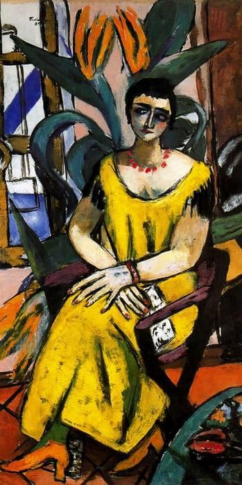 Portrait with Birds of Paradise by Max Beckmann (1884-1950, Germany)