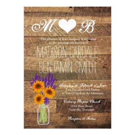 Mason Jar Sunflowers Barn Wood Wedding Invitations #masonjar #rusticwedding #stringlights #weddinginvitation #outdoorwedding #countrywedding