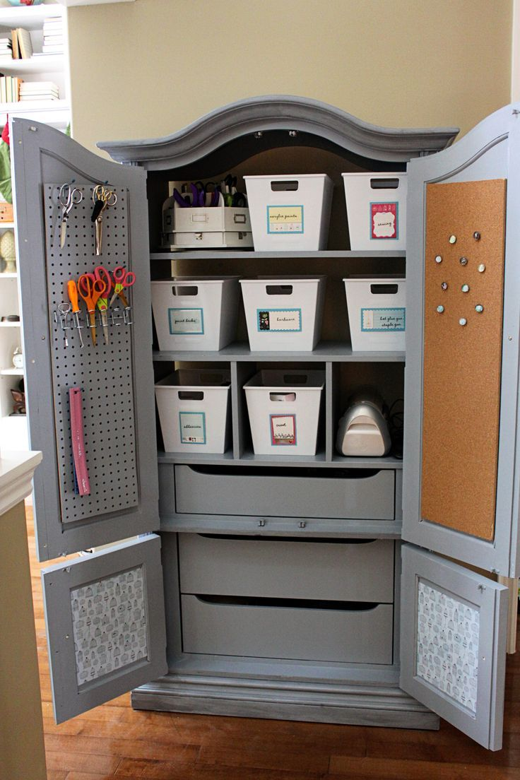 Update an old armoire or TV cabinet (be on the lookout at yard sales & thrift stores) to make a great looking storage cabinet for your craft supplies!