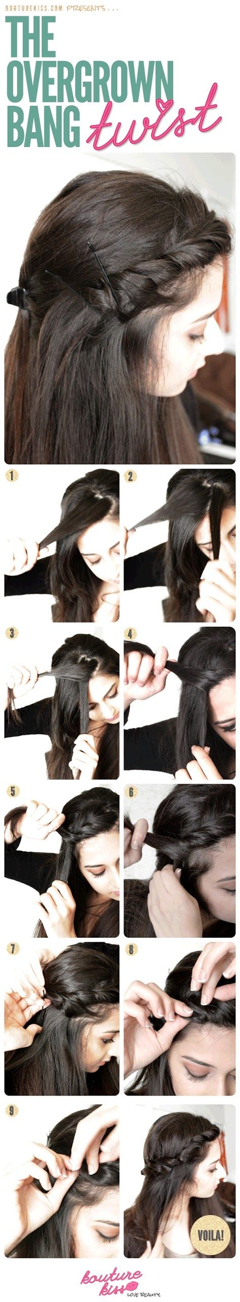 Overgrown bang twist. This will be very useful right now as I'm trying to grow out my bangs