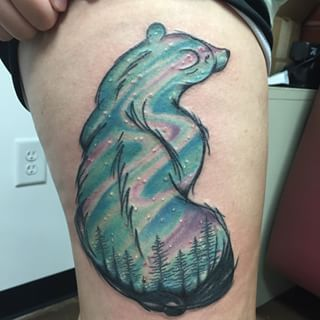 Aurora Borealis tattoo by Clay Thames  Love this but with a lynx instead of a polar bear