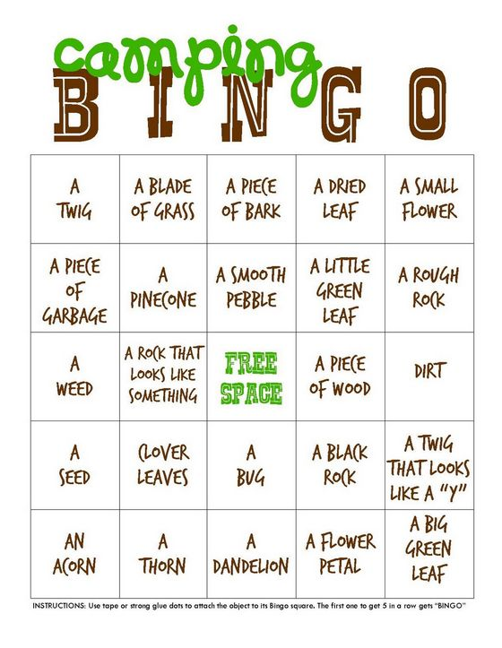 Play a round of camping-themed bingo.