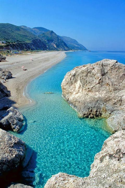 Kathisma beach in the island of Lefkada, Greece. Lefkada, or Leucas or Leucadia or Lefkas or Leukas or Lefcas, is a Greek island in the Ionian Sea on the west coast of Greece, connected to the mainland by a long causeway and floating bridge. The principal town of the island and seat of the municipality is Lefkada (city).