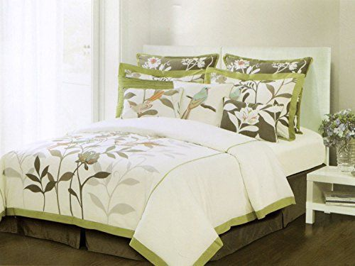 Domain Home Scenic Nature 3pc King Cal Duvet Cover Set Embroidered Bird Tree Leaves