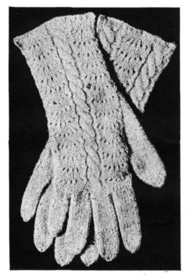 Free Vintage Knitting Pattern for Ladies' Gloves with Fancy Backs from the Handbook of Wool Knitting and Crochet