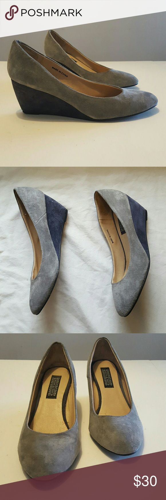 Deena and Ozzy Suede Pumps Gray with bluish purple-colored wedge heels. Super comfortable. Worn twice. Clean,  with a slight spot on 1 toe (see last photo). Deena & Ozzy Shoes