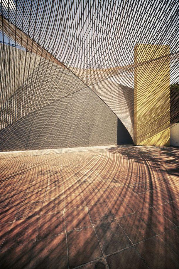 [][][] ECO PAVILION 2011 BY MMX STUDIO | MEXICO CITY.: Lights, Mexico Cities, Museums, Ecopavilion, Pavilion Architecture, Ropes, Pavilion 2011, Eco Pavilion, Shadows